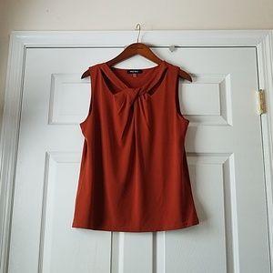 Burnt orange sleeveless blouse
